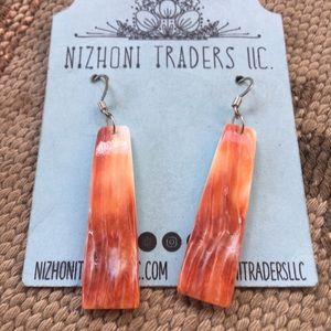 Navajo Spiny Oyster & Sterling Silver Slab Dangles